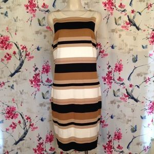 Banana Republic Striped Fitted Dress Size 16